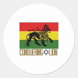 Conquering Lion Round Sticker