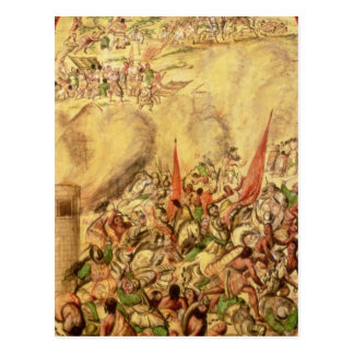 Conquest of Mexico: the Spaniards retreating Postcard