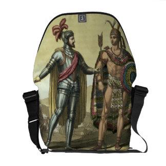 Conquistador con un jefe del nativo americano (col bolsas messenger