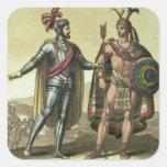 Conquistador con un jefe del nativo americano pegatina cuadrada