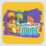 Conquistador de las nubes calcomanía cuadradas