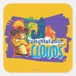 Conquistador de las nubes pegatina cuadrada