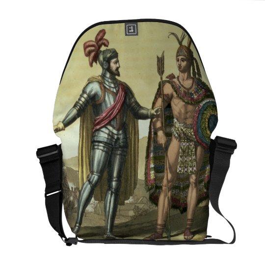 Conquistador with a Native American Chief (colour Courier Bag