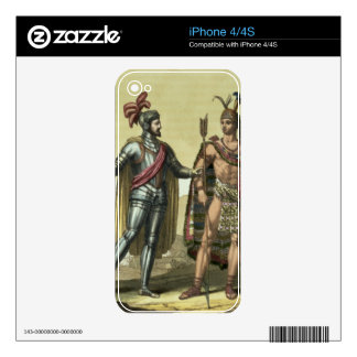 Conquistador with a Native American Chief (colour Decals For iPhone 4S
