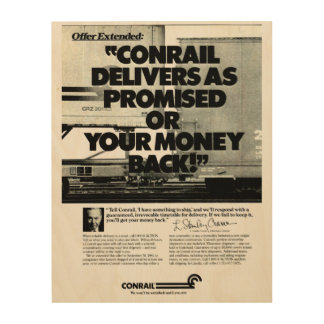Conrail Delivers As Promised 1984 Wood Canvas