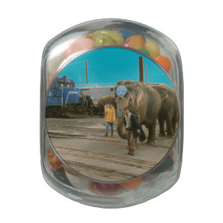 Conrail Elephants on The March Candy Jar Glass Jars