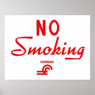 Conrail Railroad No Smoking Sign Poster
