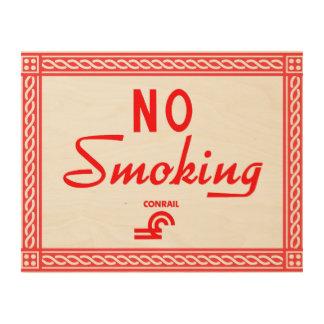 Conrail Railroad No Smoking Sign Wood Wall Art