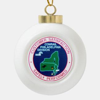 Conrail Railroad Philadelphia Division Ceramic Ball Christmas Ornament