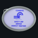 """Conrail Safety and Service Belt Buckle<br><div class=""""desc"""">From www.railphotoexpress.biz Conrail Safety and Service, Perfect Together Primary Class I railroad in the Northeast U.S. between 1976 and 1999. The Consolidated Rail Corporation, commonly known as Conrail was the primary Class I railroad in the Northeast U.S. between 1976 and 1999. The federal government created it to take over the...</div>"""