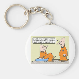 conscience guide sociopath prisoner basic round button keychain