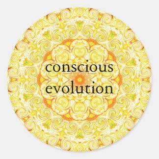 conscious evolution t-shirt classic round sticker
