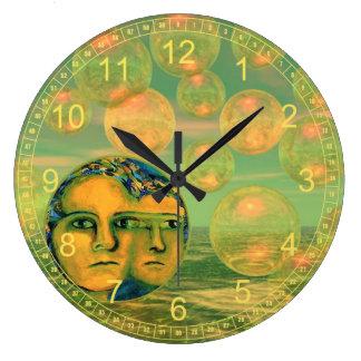 Consciousness Abstract Gold and Green Awakening Wallclock