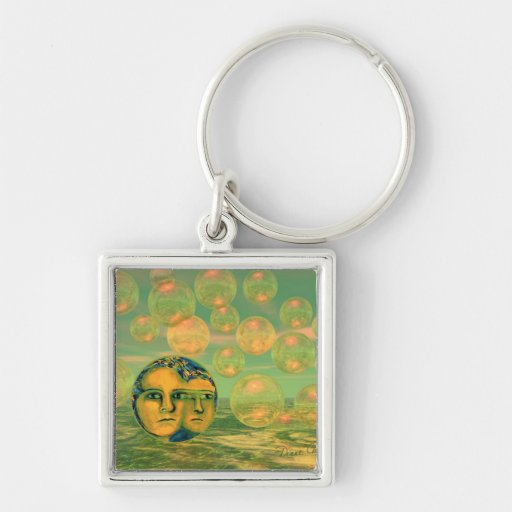 Consciousness – Gold and Green Awakening Silver-Colored Square Keychain
