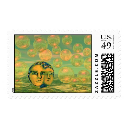 Consciousness – Gold and Green Awakening Postage Stamp