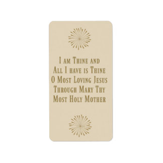 Consecration Prayer St.Louis DeMontfort Label