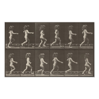 Consecutive Images of a Little Girl Running Poster