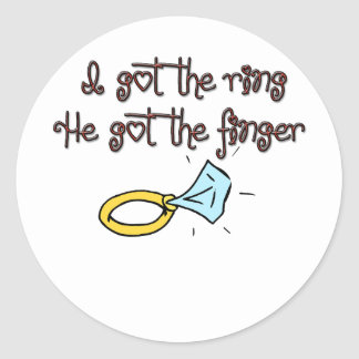 Conseguí el anillo que él consiguió el anillo de pegatina redonda