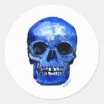 Conseguí los azules etiquetas redondas