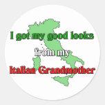 Conseguí mis buenas miradas de mi abuela italiana etiqueta redonda