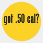 conseguido .50 caloría pegatina redonda