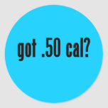 ¿conseguido .50 caloría? pegatinas redondas