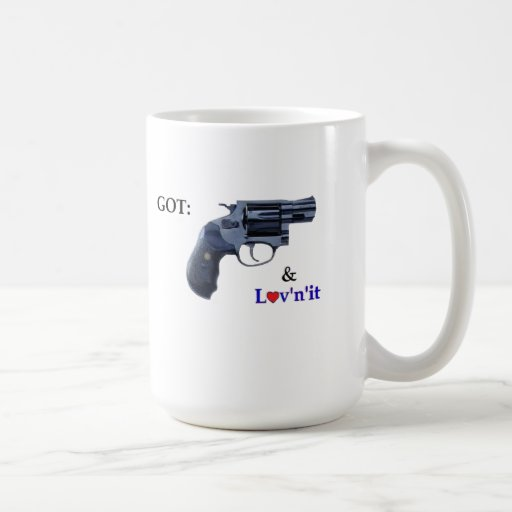 CONSEGUIDO: revólver 38 y L♥v'n'it Taza De Café