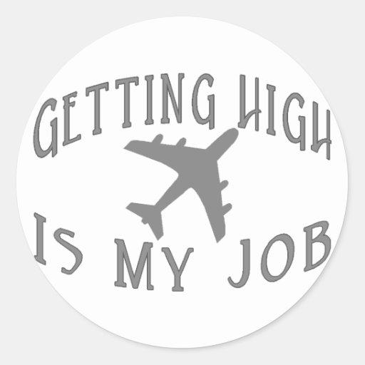 Conseguir al alto piloto de la línea aérea pegatina redonda