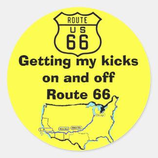 Conseguir mi ruta 66 de los retrocesos pegatinas redondas