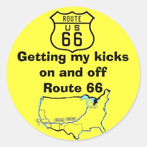 Conseguir mi ruta 66 de los retrocesos pegatina redonda