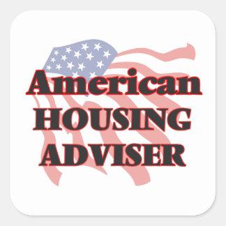 Consejero americano de la vivienda pegatina cuadrada