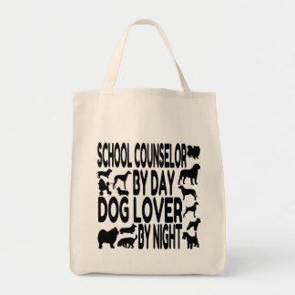 Consejero de la escuela del amante del perro bolsa tela para la compra