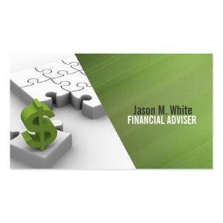 Consejero financiero consultor del dinero plantillas de tarjetas de visita