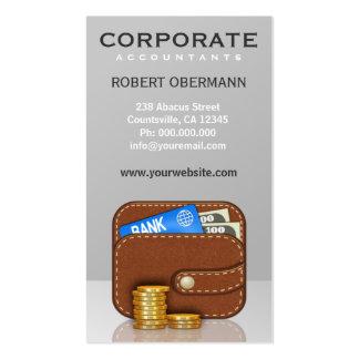 Consejero financiero de la cartera de oro de la tarjetas de visita