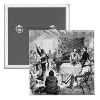 Consejo de Bull de sentada, 1877 Pin Cuadrado