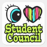 Consejo de estudiantes brillante del amor del cora calcomanía cuadradas
