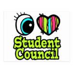 Consejo de estudiantes brillante del amor del cora postal