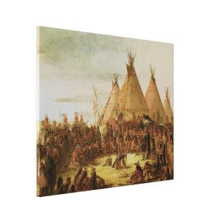 Consejo de la guerra de Siux Lona Envuelta Para Galerias