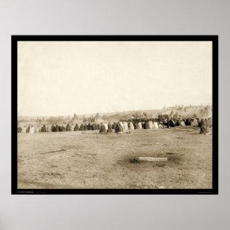 Consejo indio de Lakota en el pino Ridge SD 1891 Póster