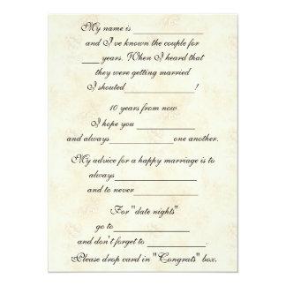 """Consejo lindo, divertido de la boda para la novia invitación 5.5"""" x 7.5"""""""