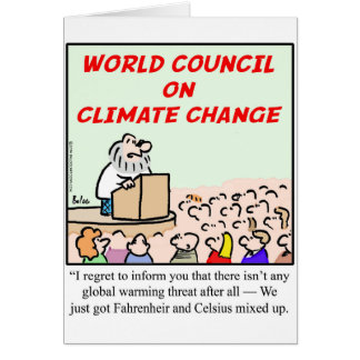 Consejo mundial en cambio de clima tarjeta de felicitación
