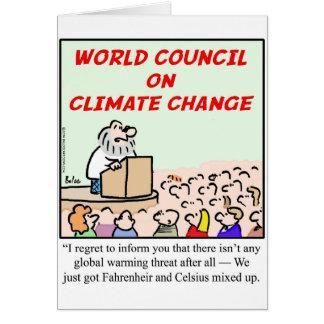 Consejo mundial en cambio de clima tarjetón
