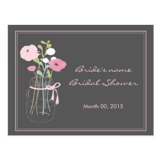 Consejo nupcial rosado y gris de la ducha del tarr tarjeta postal