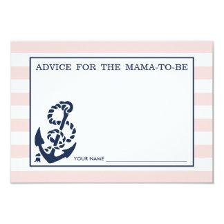 """Consejo para que la mamá sea raya náutica rosada invitación 3.5"""" x 5"""""""