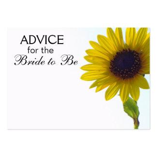 Consejo para que la novia sea tarjetas del girasol plantilla de tarjeta de visita