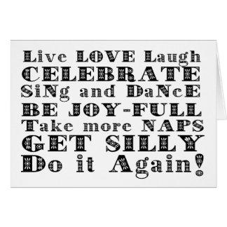 Consejo para vivir bien tarjeta de felicitación