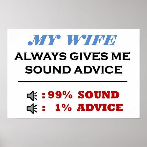 Consejo sano de la esposa lleno póster