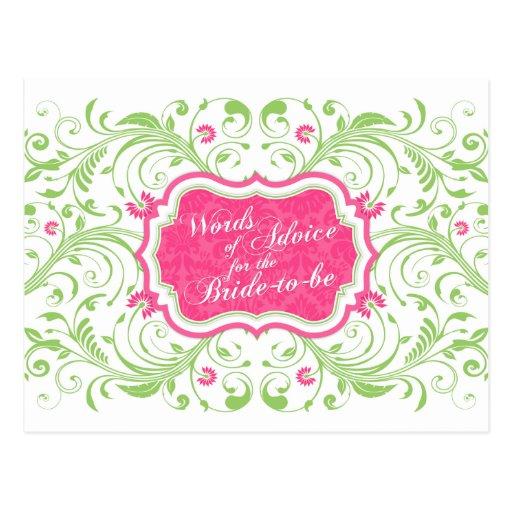 Consejos florales verdes rosados para la novia tarjetas postales