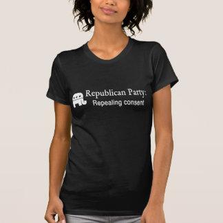 Consent, women's white on black T-Shirt