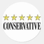 Conservador de cinco estrellas pegatinas redondas